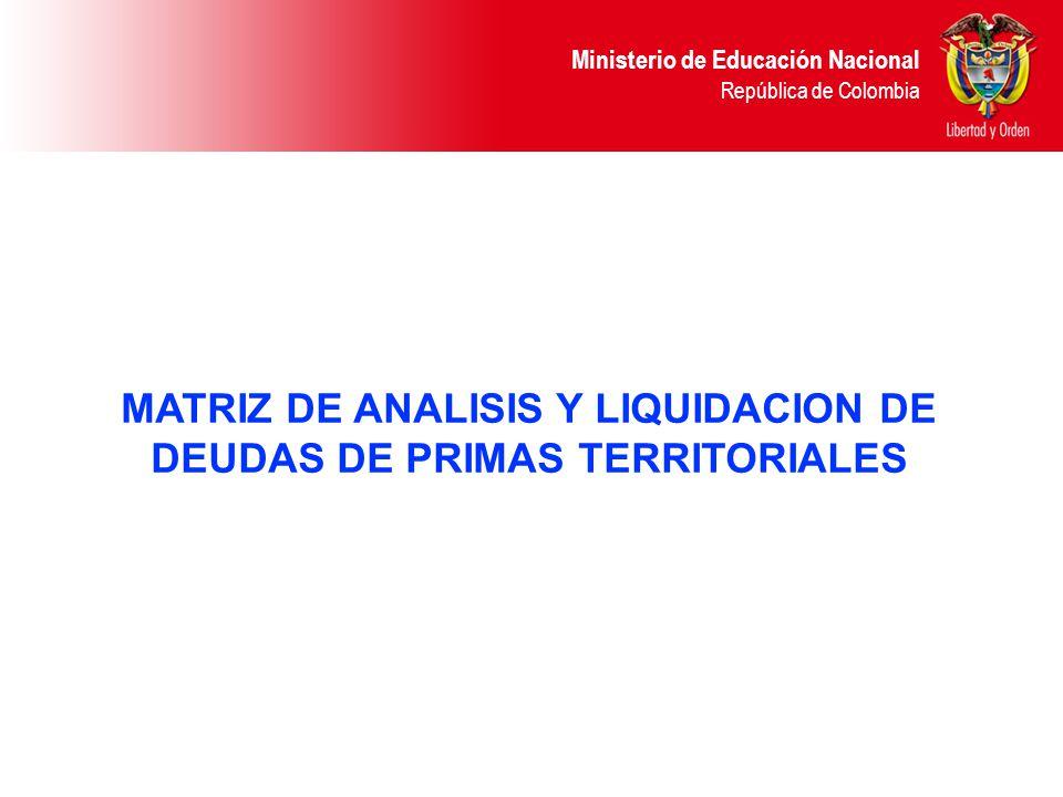 Ministerio de Educación Nacional República de Colombia MATRIZ DE ANALISIS Y LIQUIDACION DE DEUDAS DE PRIMAS TERRITORIALES