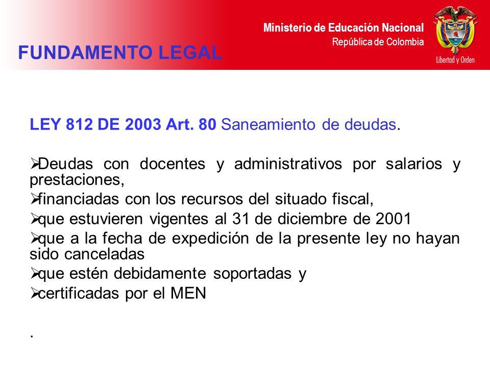 Ministerio de Educación Nacional República de Colombia LEY 812 DE 2003 Art. 80 Saneamiento de deudas. Deudas con docentes y administrativos por salari