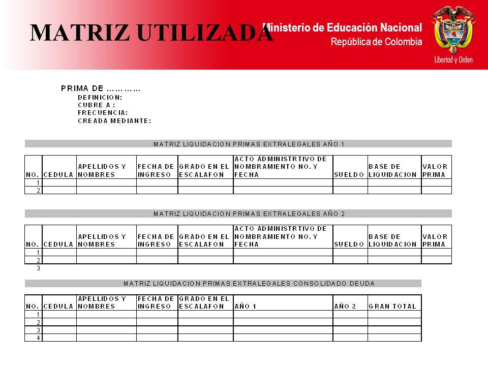 Ministerio de Educación Nacional República de Colombia MATRIZ UTILIZADA