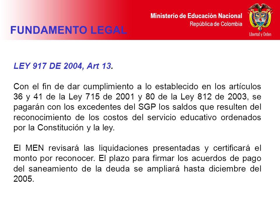 Ministerio de Educación Nacional República de Colombia LEY 917 DE 2004, Art 13. Con el fin de dar cumplimiento a lo establecido en los artículos 36 y