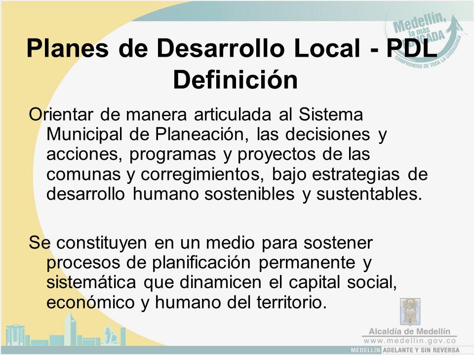 Planes de Desarrollo Local - PDL Definición Orientar de manera articulada al Sistema Municipal de Planeación, las decisiones y acciones, programas y proyectos de las comunas y corregimientos, bajo estrategias de desarrollo humano sostenibles y sustentables.