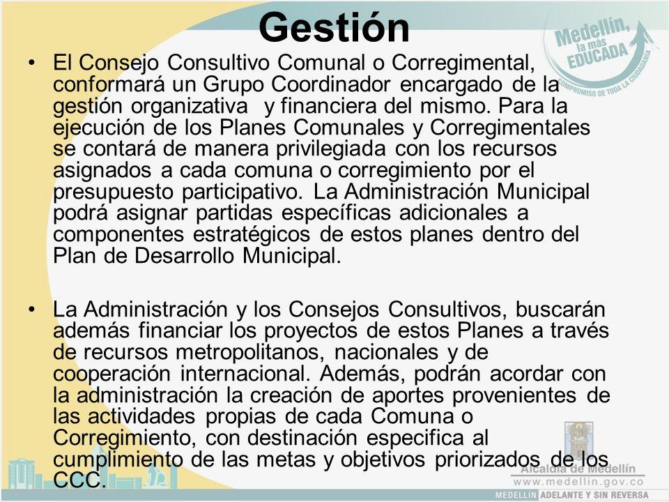 Gestión El Consejo Consultivo Comunal o Corregimental, conformará un Grupo Coordinador encargado de la gestión organizativa y financiera del mismo.