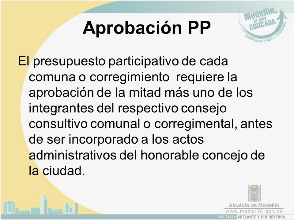 Aprobación PP El presupuesto participativo de cada comuna o corregimiento requiere la aprobación de la mitad más uno de los integrantes del respectivo consejo consultivo comunal o corregimental, antes de ser incorporado a los actos administrativos del honorable concejo de la ciudad.