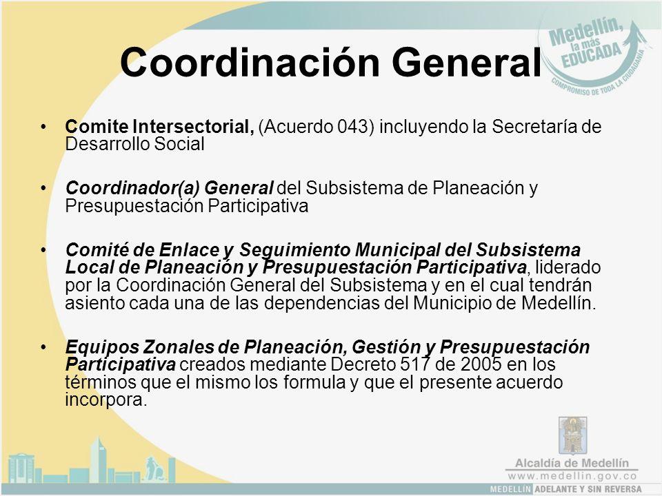 Coordinación General Comite Intersectorial, (Acuerdo 043) incluyendo la Secretaría de Desarrollo Social Coordinador(a) General del Subsistema de Planeación y Presupuestación Participativa Comité de Enlace y Seguimiento Municipal del Subsistema Local de Planeación y Presupuestación Participativa, liderado por la Coordinación General del Subsistema y en el cual tendrán asiento cada una de las dependencias del Municipio de Medellín.