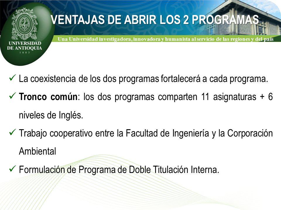 Una Universidad investigadora, innovadora y humanista al servicio de las regiones y del país La coexistencia de los dos programas fortalecerá a cada programa.