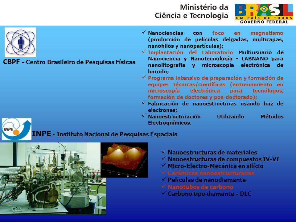 INPE - Instituto Nacional de Pesquisas Espaciais Nanoestructuras de materiales Nanoestructuras de compuestos IV-VI Micro-Electro-Mecánica en silício C