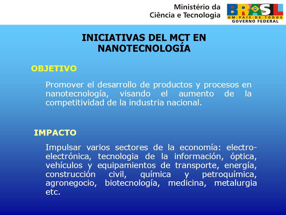 INICIATIVAS DEL MCT EN NANOTECNOLOGÍA OBJETIVO Promover el desarrollo de productos y procesos en nanotecnología, visando el aumento de la competitivid