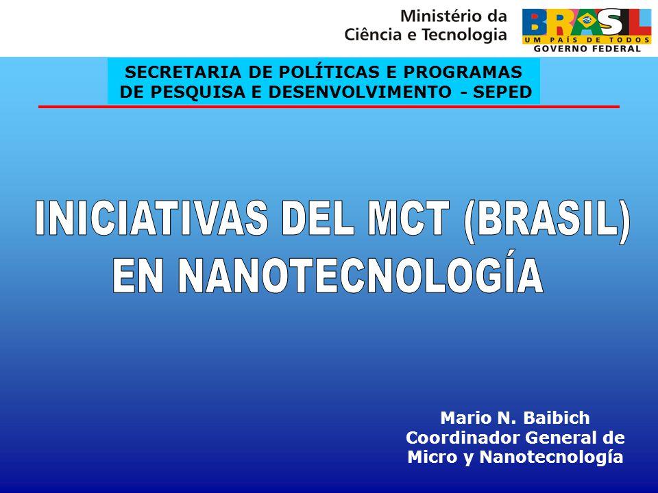 HISTÓRIA 1987- Crecimiento y caracterización de semiconductores y películas delgadas metálicas; 2001 - Creación de 4 redes de nanotecnología CNPq/MCT; 2001 - Institutos del Milenio (4 institutos en nano); 2003 - Creación del Grupo de Trabajo de Nanotecnología; 2003 - Creación de la Coordinación General de Políticas y Programas de Nanotecnología; 2004 - Inicio del Programa de Desarrollo de la Nanociencia y Nanotecnología; 2005 - Lanzamiento del Programa Nacional de Nanotecnología