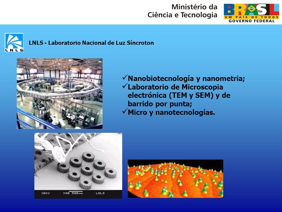 INPE - Instituto Nacional de Pesquisas Espaciais Nanoestructuras de materiales Nanoestructuras de compuestos IV-VI Micro-Electro-Mecánica en silício Cerámicas nanoestructuradas Películas de nanodiamante Nanotubos de carbono Carbono tipo diamante - DLC CBPF - Centro Brasileiro de Pesquisas Físicas Nanociencias con foco en magnetismo (producción de películas delgadas, multicapas, nanohilos y nanopartículas); Implantación del Laboratorio Multiusuário de Nanociencia y Nanotecnología - LABNANO para nanolitografia y microscopia electrónica de barrido; Programa intensivo de preparación y formación de equipes técnicas/científicas (entrenamiento en microscopía electrónica para tecnólogos, formación de doctores y pos-doctorado); Fabricación de nanoestructuras usando haz de electrones; Nanoestructuración Utilizando Métodos Electroquímicos.