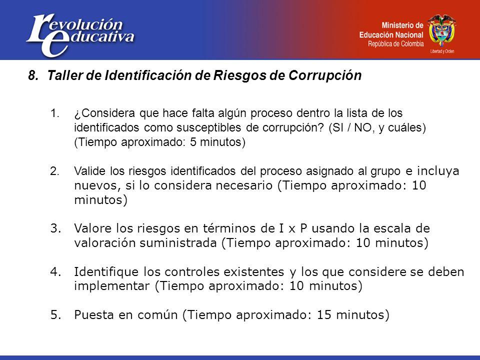 8.Taller de Identificación de Riesgos de Corrupción 1.¿Considera que hace falta algún proceso dentro la lista de los identificados como susceptibles de corrupción.