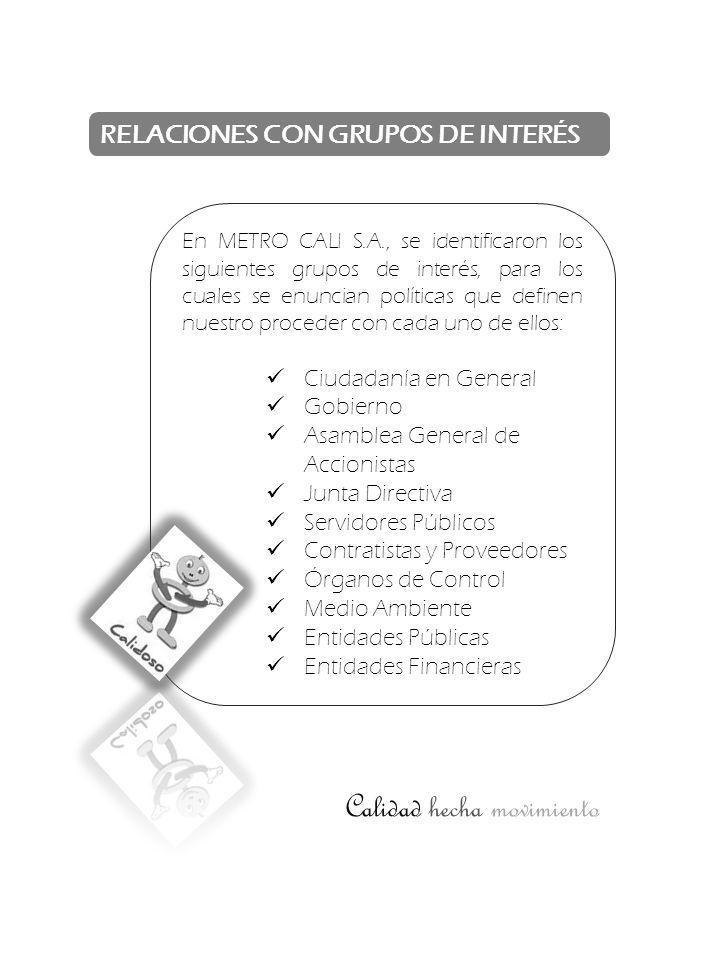 RELACIONES CON GRUPOS DE INTERÉS En METRO CALI S.A., se identificaron los siguientes grupos de interés, para los cuales se enuncian políticas que defi