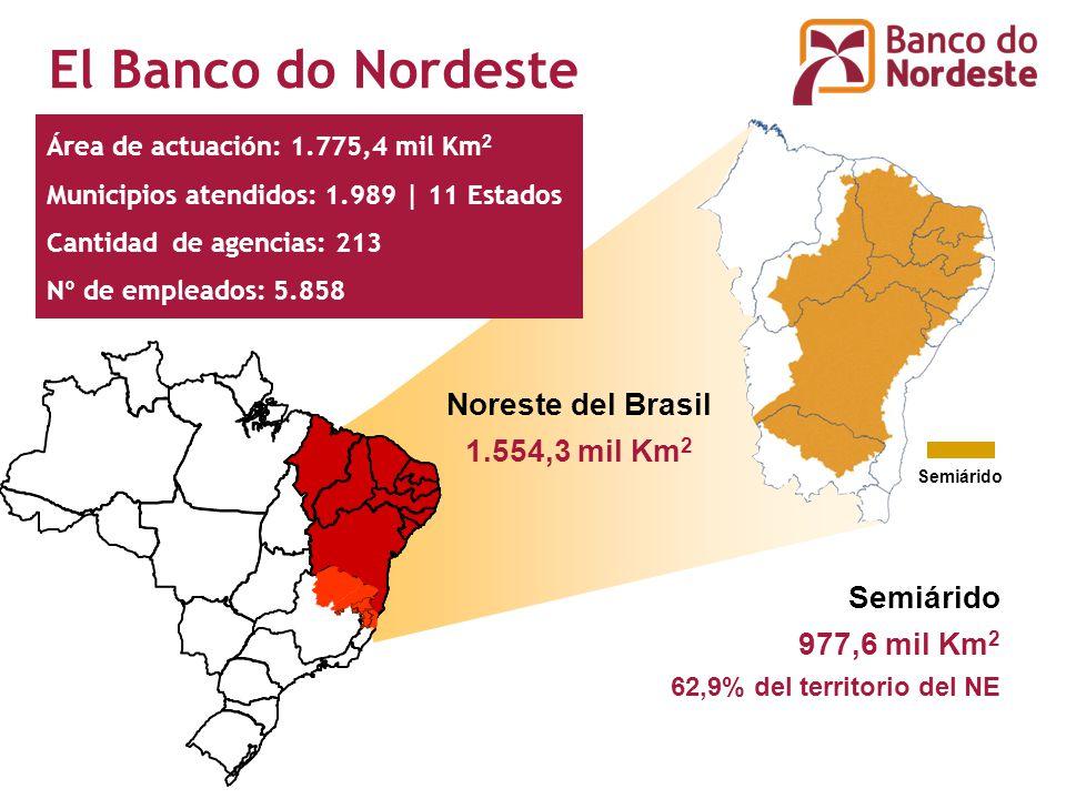 Semiárido 977,6 mil Km 2 62,9% del territorio del NE Semiárido Noreste del Brasil 1.554,3 mil Km 2 El Banco do Nordeste Área de actuación: 1.775,4 mil Km 2 Municipios atendidos: 1.989 | 11 Estados Cantidad de agencias: 213 Nº de empleados: 5.858