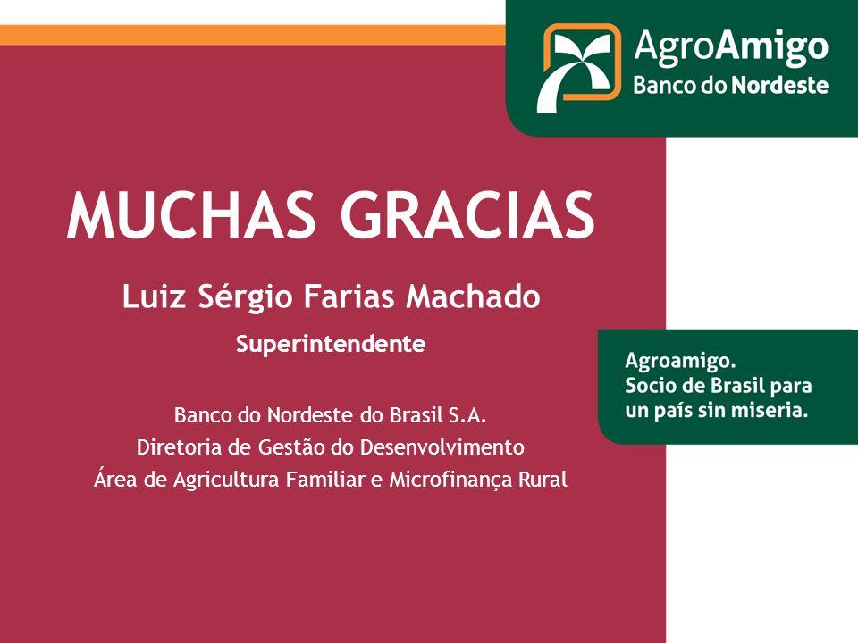 MUCHAS GRACIAS Luiz Sérgio Farias Machado Superintendente Banco do Nordeste do Brasil S.A.