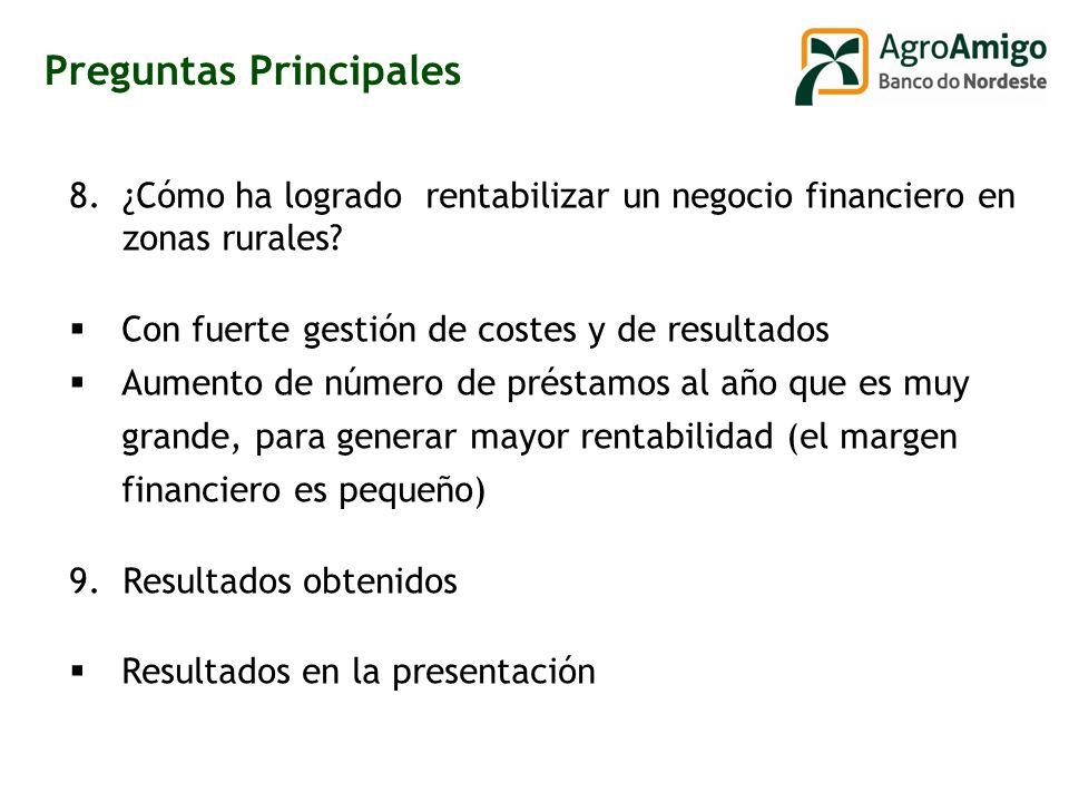 8.¿Cómo ha logrado rentabilizar un negocio financiero en zonas rurales.