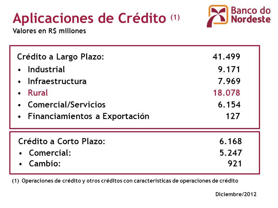 Crédito a Largo Plazo: 41.499 Industrial 9.171 Infraestructura 7.969 Rural 18.078 Comercial/Servicios 6.154 Financiamientos a Exportación 127 Crédito a Corto Plazo: 6.168 Comercial: 5.247 Cambio: 921 (1)Operaciones de crédito y otros créditos con características de operaciones de crédito Valores en R$ millones Aplicaciones de Crédito (1) Diciembre/2012
