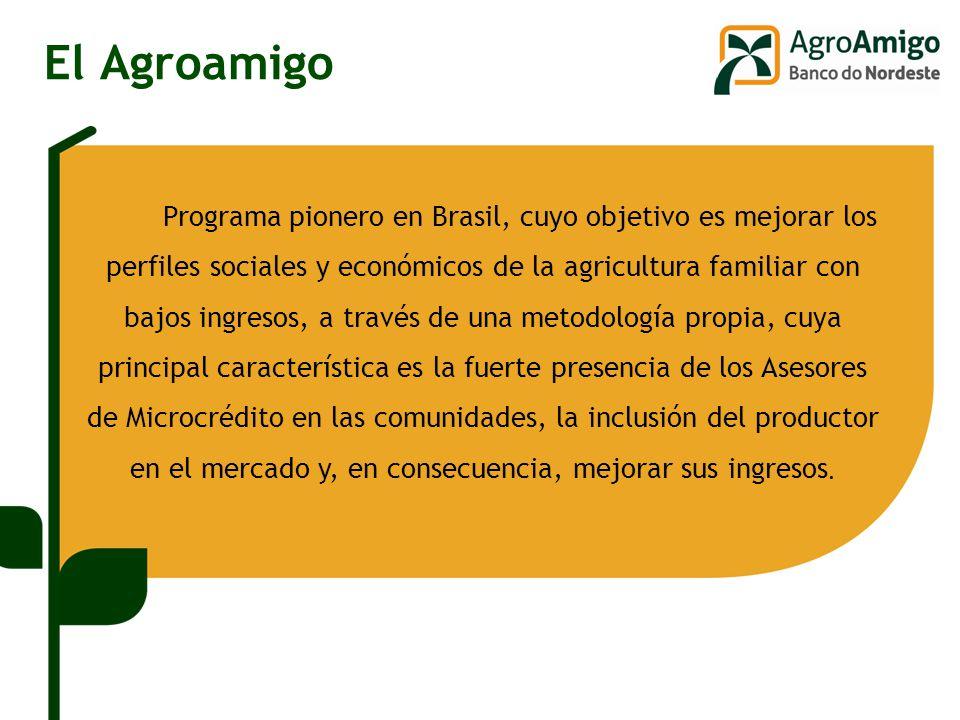 El Agroamigo Programa pionero en Brasil, cuyo objetivo es mejorar los perfiles sociales y económicos de la agricultura familiar con bajos ingresos, a través de una metodología propia, cuya principal característica es la fuerte presencia de los Asesores de Microcrédito en las comunidades, la inclusión del productor en el mercado y, en consecuencia, mejorar sus ingresos.
