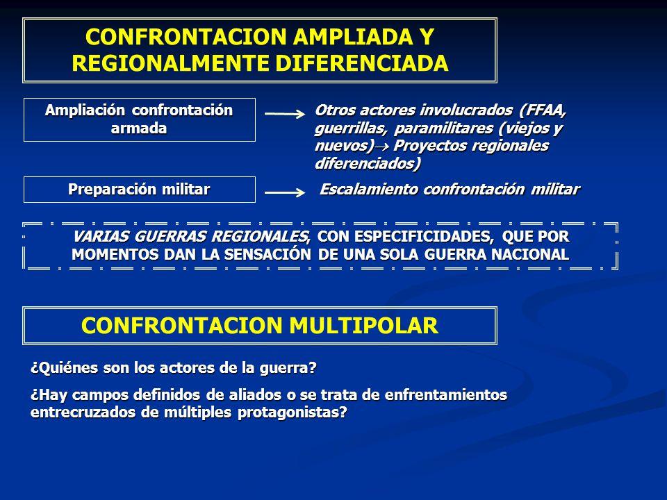 VARIAS GUERRAS REGIONALES, CON ESPECIFICIDADES, QUE POR MOMENTOS DAN LA SENSACIÓN DE UNA SOLA GUERRA NACIONAL CONFRONTACION AMPLIADA Y REGIONALMENTE D