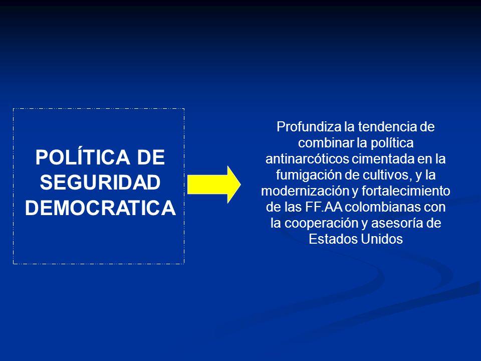 POLÍTICA DE SEGURIDAD DEMOCRATICA Profundiza la tendencia de combinar la política antinarcóticos cimentada en la fumigación de cultivos, y la moderniz