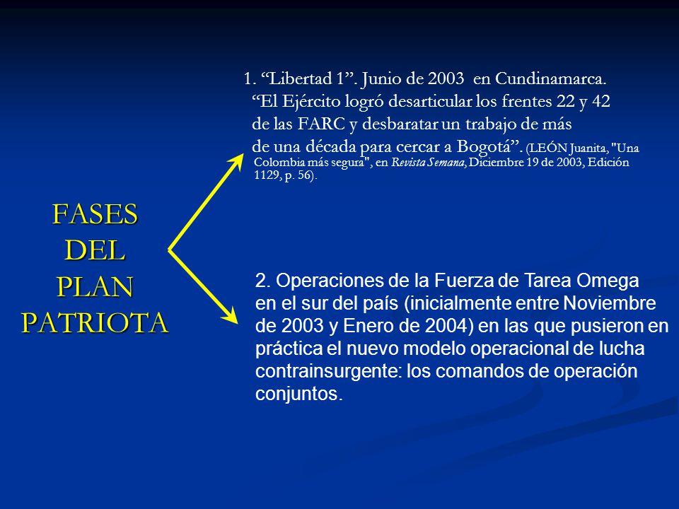FASES DEL PLAN PATRIOTA 1. Libertad 1. Junio de 2003 en Cundinamarca. El Ejército logró desarticular los frentes 22 y 42 de las FARC y desbaratar un t