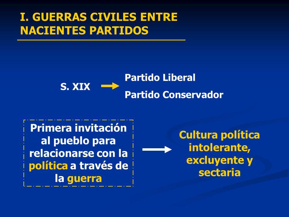 I. GUERRAS CIVILES ENTRE NACIENTES PARTIDOS S. XIX Partido Liberal Partido Conservador Primera invitación al pueblo para relacionarse con la política