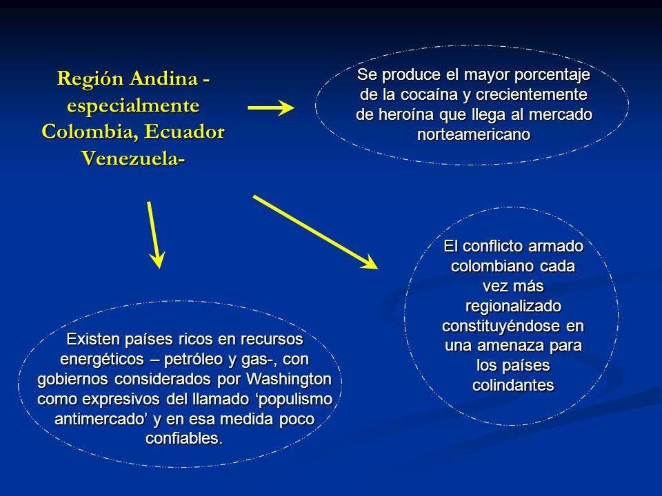 Región Andina - especialmente Colombia, Ecuador Venezuela- Se produce el mayor porcentaje de la cocaína y crecientemente de heroína que llega al merca