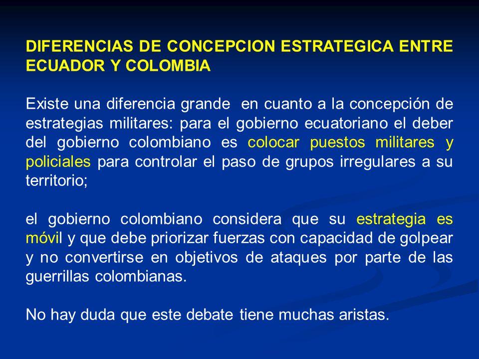DIFERENCIAS DE CONCEPCION ESTRATEGICA ENTRE ECUADOR Y COLOMBIA Existe una diferencia grande en cuanto a la concepción de estrategias militares: para e