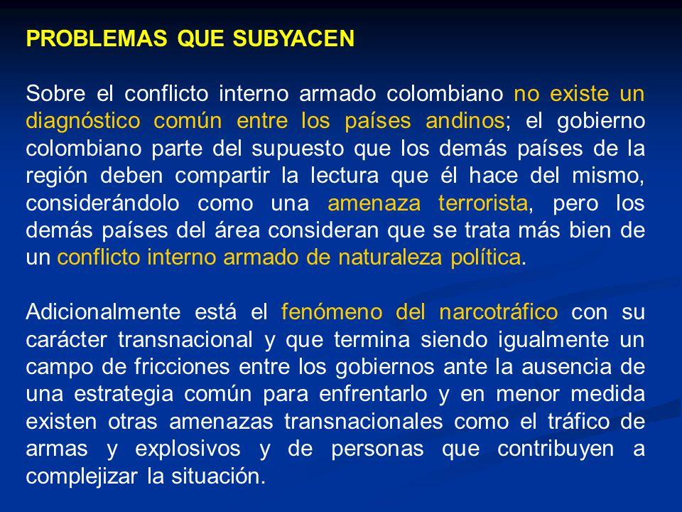 PROBLEMAS QUE SUBYACEN Sobre el conflicto interno armado colombiano no existe un diagnóstico común entre los países andinos; el gobierno colombiano pa