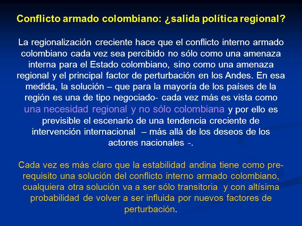 Conflicto armado colombiano: ¿salida política regional? La regionalización creciente hace que el conflicto interno armado colombiano cada vez sea perc