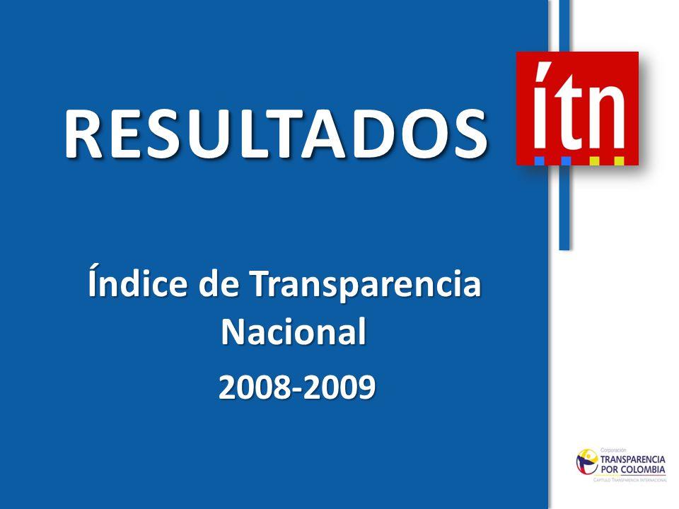 RESULTADOSRESULTADOS Índice de Transparencia Nacional Índice de Transparencia Nacional 2008-2009 2008-2009