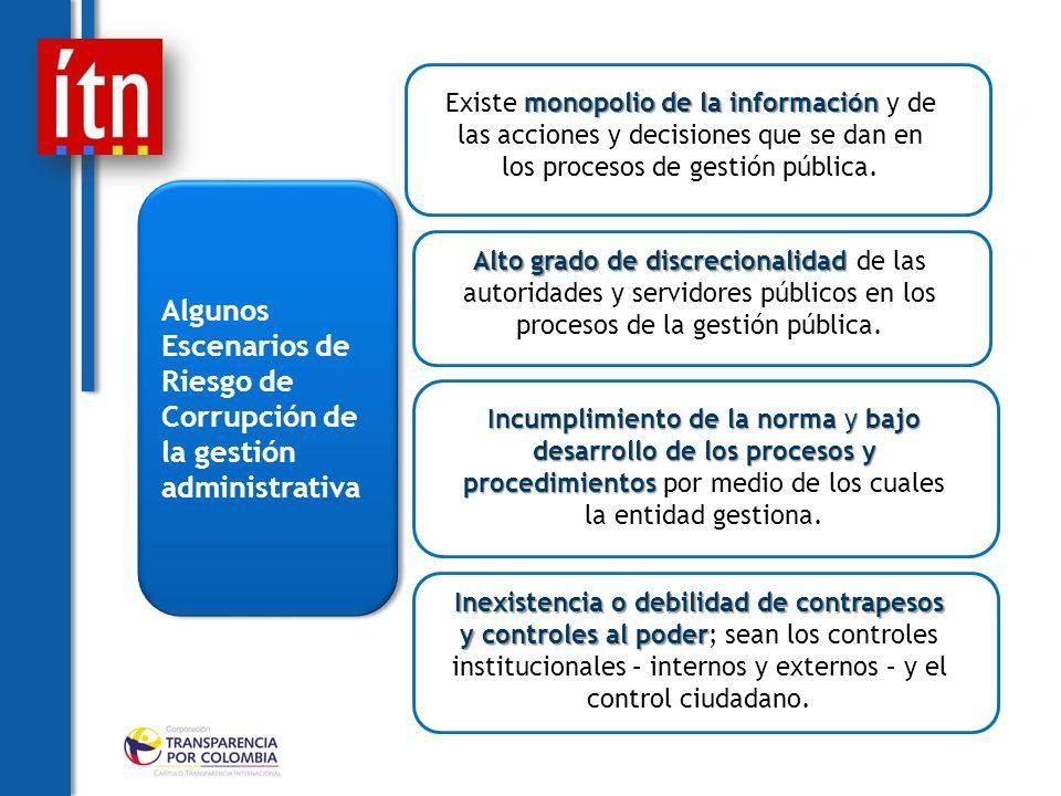 Algunos Escenarios de Riesgo de Corrupción de la gestión administrativa monopolio de la información Existe monopolio de la información y de las acciones y decisiones que se dan en los procesos de gestión pública.