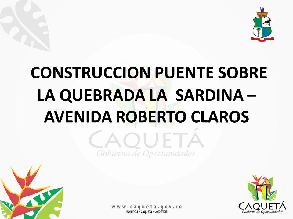 CONSTRUCCION PUENTE SOBRE LA QUEBRADA LA SARDINA – AVENIDA ROBERTO CLAROS