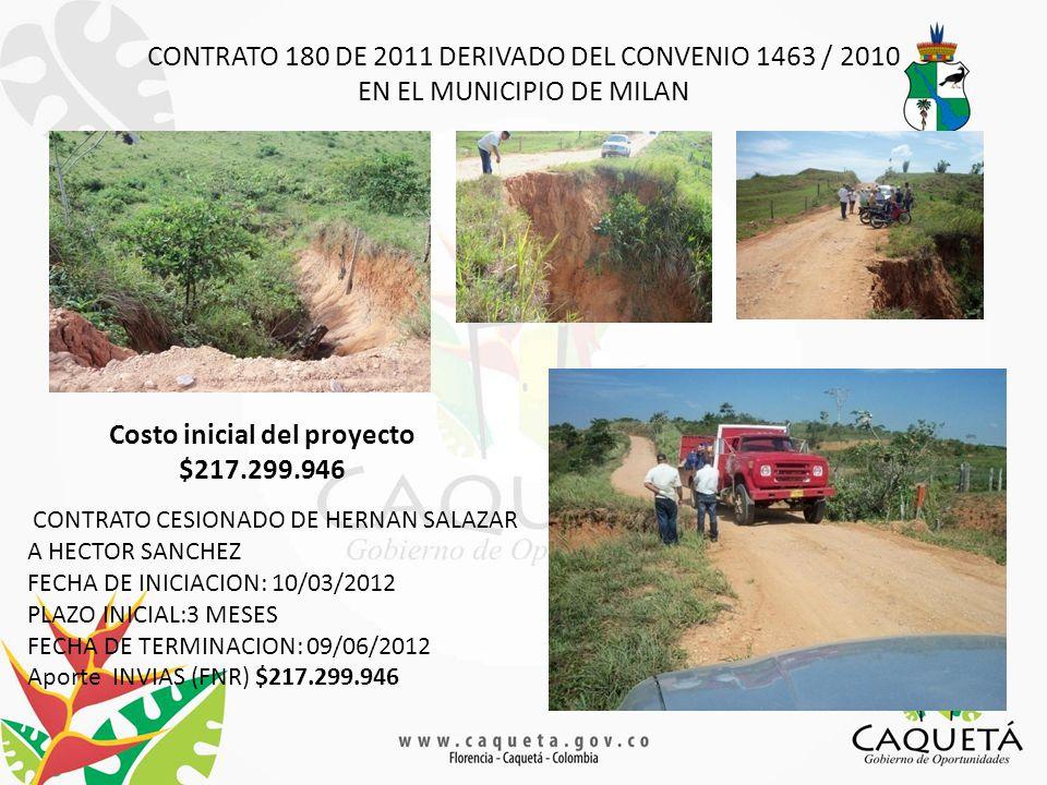 CONTRATO 180 DE 2011 DERIVADO DEL CONVENIO 1463 / 2010 EN EL MUNICIPIO DE MILAN Costo inicial del proyecto $217.299.946 CONTRATO CESIONADO DE HERNAN SALAZAR A HECTOR SANCHEZ FECHA DE INICIACION: 10/03/2012 PLAZO INICIAL:3 MESES FECHA DE TERMINACION: 09/06/2012 Aporte INVIAS (FNR) $217.299.946
