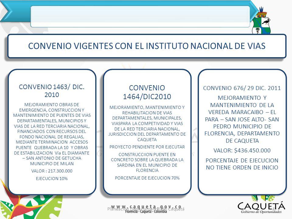 PLAN DEPARTAMENTAL DE AGUA PDA CAQUETA TRES (3) CONTRATOS DE OBRA 2 CONTRATOS TERMINADOS 1 EN PROCESO DE LIQUIDACIÓN AÑO 2010 UN ( 1 ) CONTRATO DE CONSULTORIA EJECUTADO 1 PROYECTO REVOCADO EN LICITACION EN EL 2011 AÑO 2011 2 PROYECTOS DE OBRA 1 PROYECTO EN EJECUCION ( VALPARAISO).