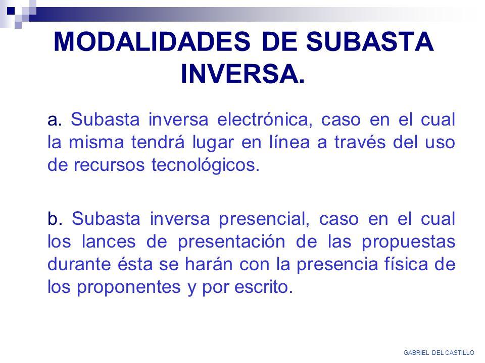 MODALIDADES DE SUBASTA INVERSA. a. Subasta inversa electrónica, caso en el cual la misma tendrá lugar en línea a través del uso de recursos tecnológic