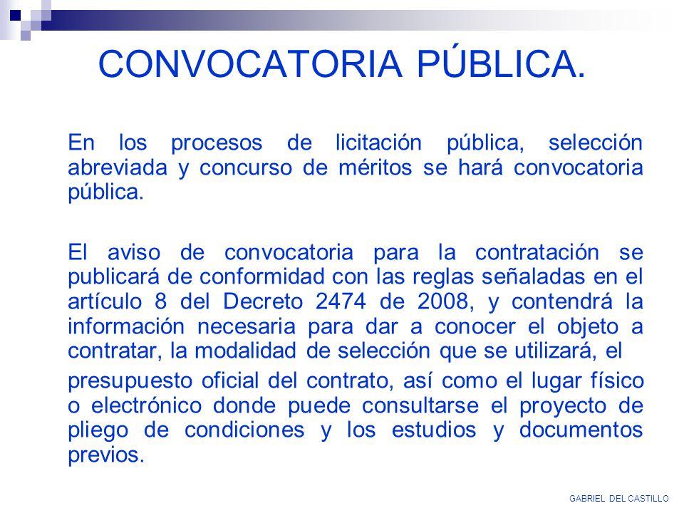 En los procesos de licitación pública, selección abreviada y concurso de méritos se hará convocatoria pública. El aviso de convocatoria para la contra