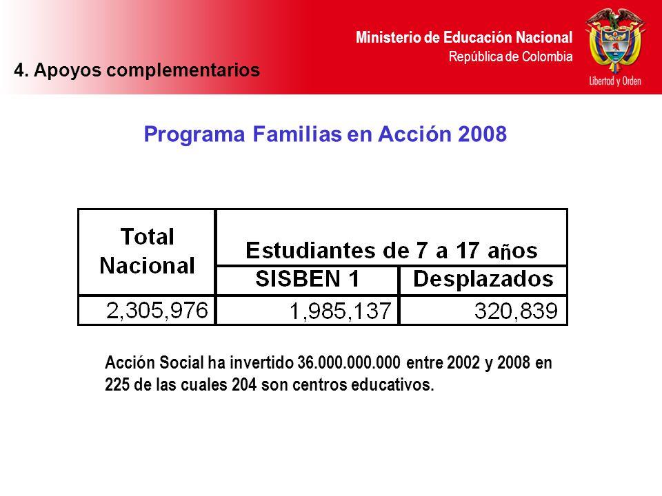 Ministerio de Educación Nacional República de Colombia Programa Familias en Acción 2008 4. Apoyos complementarios Acción Social ha invertido 36.000.00