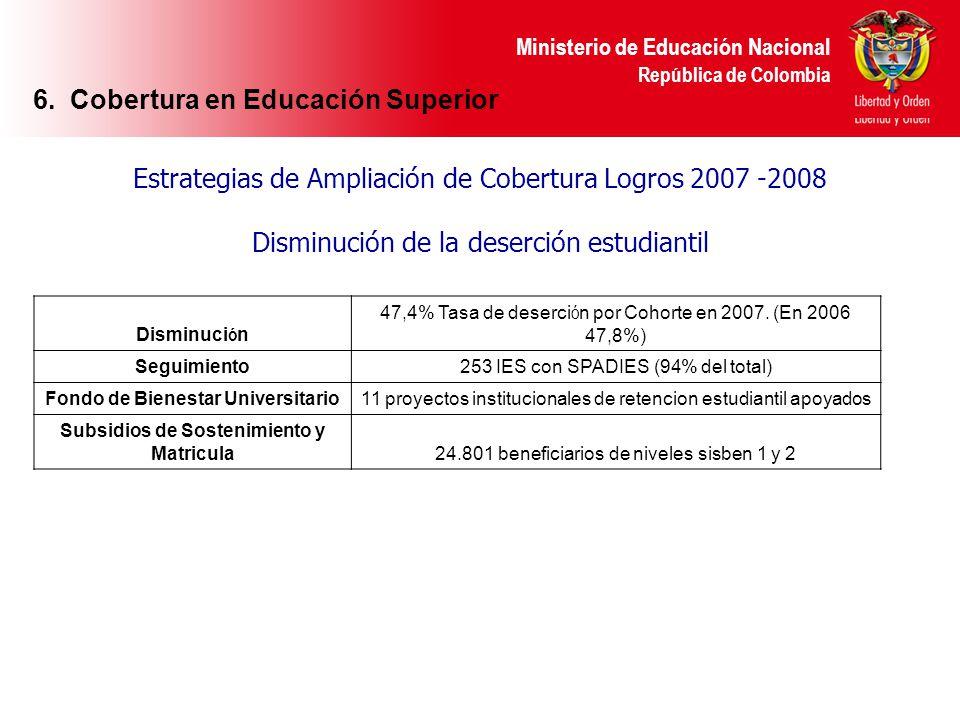 Ministerio de Educación Nacional República de Colombia Estrategias de Ampliación de Cobertura Logros 2007 -2008 Disminución de la deserción estudianti