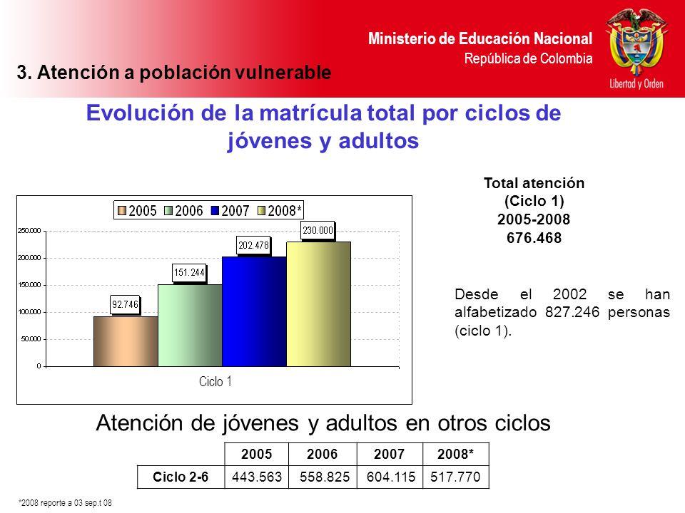 Ministerio de Educación Nacional República de Colombia Evolución de la matrícula total por ciclos de jóvenes y adultos Desde el 2002 se han alfabetiza