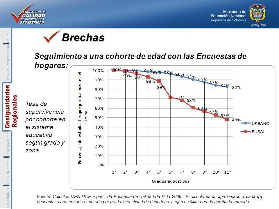 Fuente: Cálculos MEN-DCE a partir de Encuesta de Calidad de Vida 2008. El cálculo es un aproximado a partir de descontar a una cohorte esperada por gr