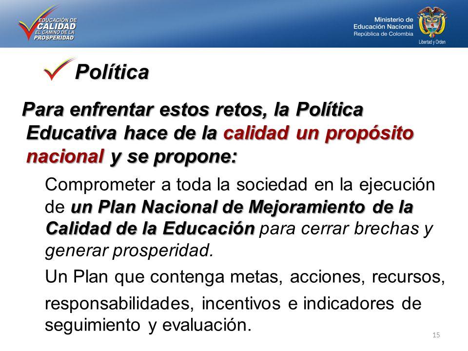 Política Para enfrentar estos retos, la Política Educativa hace de la calidad un propósito nacional y se propone: un Plan Nacional de Mejoramiento de