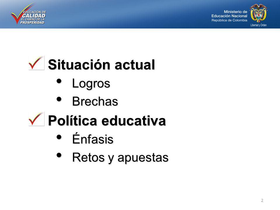 Situación actual Logros Logros Brechas Brechas Política educativa Énfasis Énfasis Retos y apuestas Retos y apuestas 2