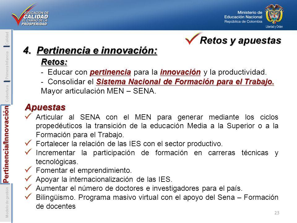 I Pertinencia/Innovación Modelo de gestión Pertinencia/Innovación Cobertura Primera Infancia Calidad I 4. Pertinencia e innovación: Retos: pertinencia