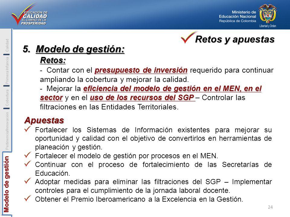 I Modelo de gestión Modelo de gestión Pertinencia/Innovación Cobertura Primera Infancia Calidad I I 5. Modelo de gestión: Retos: presupuesto de invers