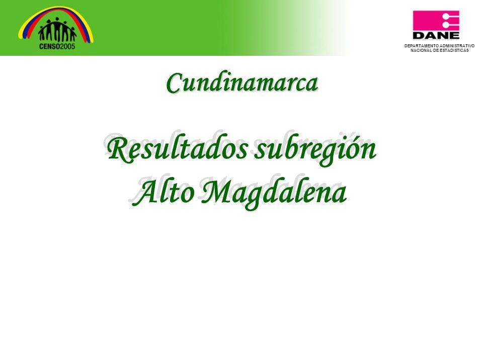 DEPARTAMENTO ADMINISTRATIVO NACIONAL DE ESTADISTICA5 Resultados subregión Alto Magdalena Resultados subregión Alto Magdalena Cundinamarca