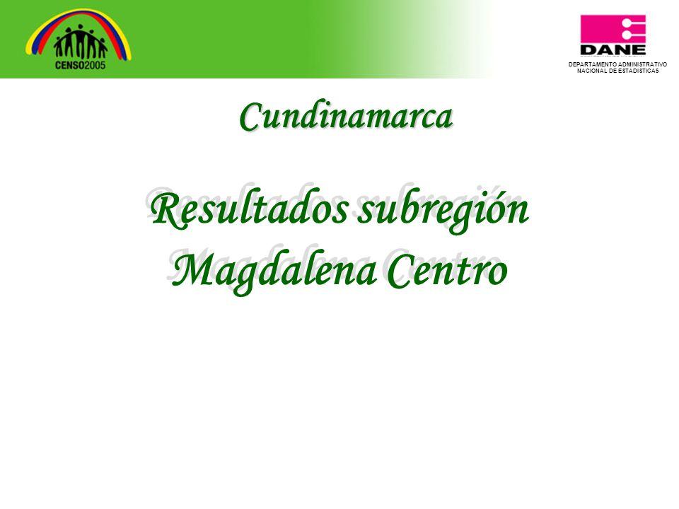 DEPARTAMENTO ADMINISTRATIVO NACIONAL DE ESTADISTICA5 Resultados subregión Magdalena Centro Resultados subregión Magdalena Centro Cundinamarca