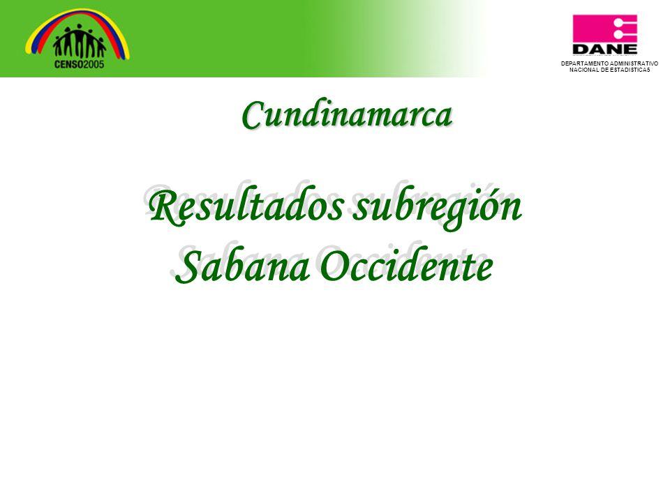 DEPARTAMENTO ADMINISTRATIVO NACIONAL DE ESTADISTICA5 Resultados subregión Sabana Occidente Resultados subregión Sabana Occidente Cundinamarca