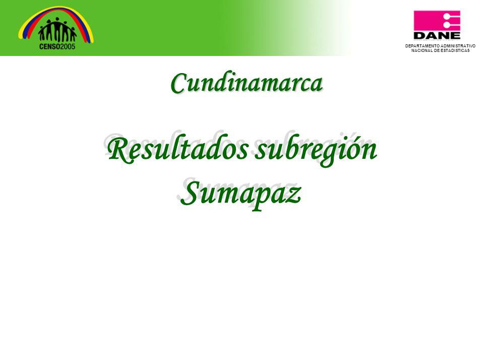 DEPARTAMENTO ADMINISTRATIVO NACIONAL DE ESTADISTICA5 Resultados subregión Sumapaz Resultados subregión Sumapaz Cundinamarca