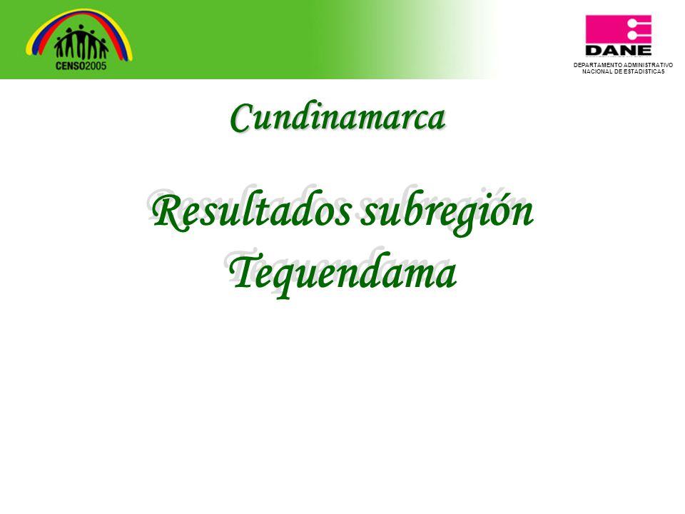 DEPARTAMENTO ADMINISTRATIVO NACIONAL DE ESTADISTICA5 Resultados subregión Tequendama Resultados subregión Tequendama Cundinamarca
