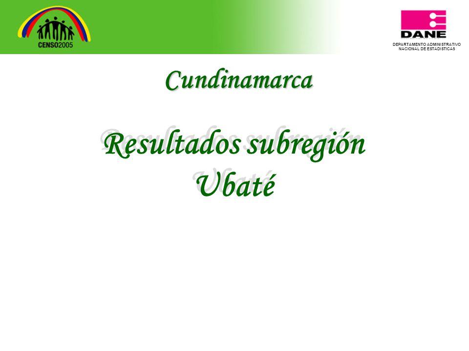 DEPARTAMENTO ADMINISTRATIVO NACIONAL DE ESTADISTICA5 Resultados subregión Ubaté Resultados subregión Ubaté Cundinamarca