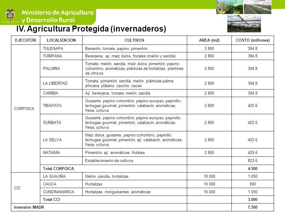 IV. Agricultura Protegida (invernaderos) EJECUTORLOCALIZACIONCULTIVOSAREA (m2)COSTO (millones) CORPOICA TULENAPABananito, tomate, pepino, pimentón2.80